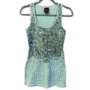 2b Bebe Blue Sequence Long Tank Top, Size S